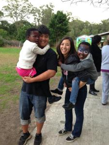 South African kids playing with our Daughter and her co-leader Shun  (More on her ministry)