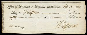 Thomas Jefferson wrote himself a check for $50. (Wikimedia) He couldn't write it to Costco because Costco wasn't around in 1809.