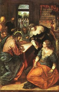 Jesus with Mary and Martha, by Tintoretto