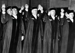 German judges giving Nazi salute while taking oath of office