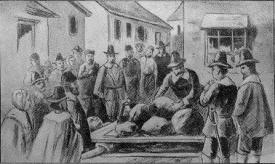 Giles Corey under the stones (Wikimedia)