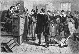 A writhing witness at a witch trial (Wikimedia)