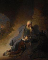 Jeremiah Lamenting the Destruction of Jerusalem, Rembrandt, 1630 (Wikipedia)