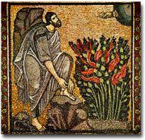 Moses and the Burning Bush (Byzantine Mosaic)