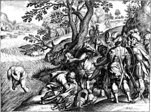 Naaman in the Jordan River (L'histoire dv Vieux et dv Nouveau Testament : representée avec des figvres & des explications édifiantes, tirées des SS. PP. pour regler les moeurs dans toute sorte de conditions / par le sieur de Royavmont )
