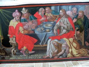 Ballum church. Painting at the high altar ( 17th century ): Anointing of Jesus (Wikipedia)