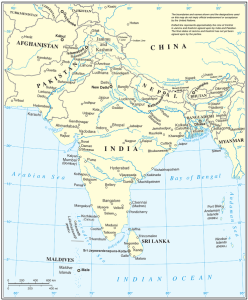 """Official United Nations cartographic map of South Asia."" (Wikipedia) The countries of South Asia are Afghanistan, Bangladesh, Bhutan, India, Maldives, Nepal, Pakistan, and Sri Lanka."