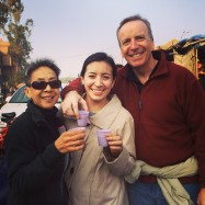Drinking street chai with our daughter overseas.