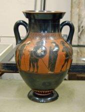 A black-figured amphora: Herakles and Eurystheus. (British Museum)