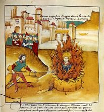 Burning of Jan Hus at the stake, Diebold Schilling the Older, Spiezer Chronik (1485) Wikimedia