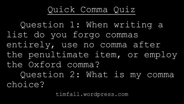 Quick Comma Quiz