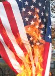 Flag burning in a 2008 protest (Wikimedia)