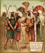 "Joseph sold by his brothers into slavery, from ""The Coloured Picture Bible for Children"", 1900 (source)"