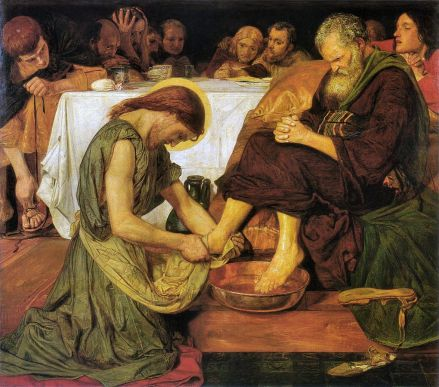 Ford Maddox Brown, Jesus Washign Peter's Feet (1852-56) Wikipedia