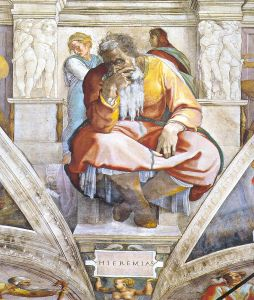 Jeremiah, as depicted by Michelangelo from the Sistine Chapel ceiling (Wikimedia)